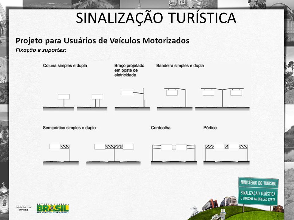 SINALIZAÇÃO TURÍSTICA Projeto para Usuários de Veículos Motorizados Exemplos de placas: -Identificação de atrativo turístico: -Indicativa de distância: -Indicativa de sentido (direção): -Posicionamento na pista: