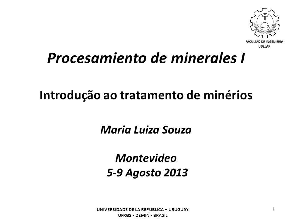 Procesamiento de minerales I Introdução ao tratamento de minérios Maria Luiza Souza Montevideo 5-9 Agosto 2013 1 UNIVERSIDADE DE LA REPUBLICA – URUGUA