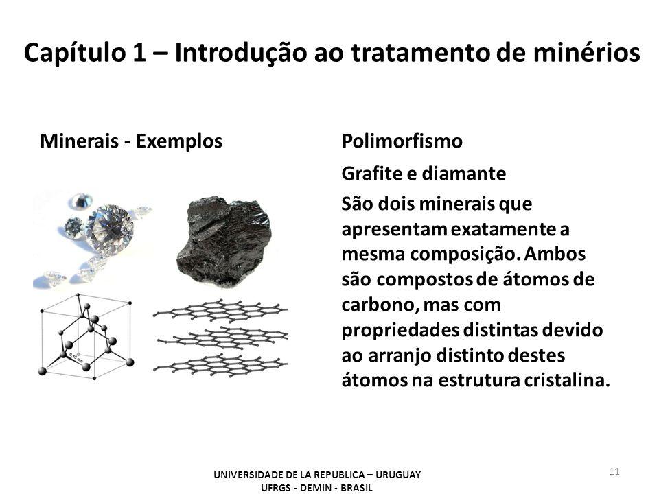 Polimorfismo Grafite e diamante São dois minerais que apresentam exatamente a mesma composição. Ambos são compostos de átomos de carbono, mas com prop