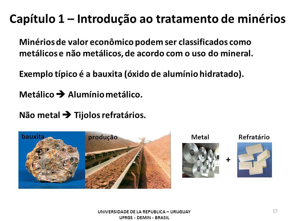 Capítulo 1 – Introdução ao tratamento de minérios Minérios de valor econômico podem ser classificados como metálicos e não metálicos, de acordo com o