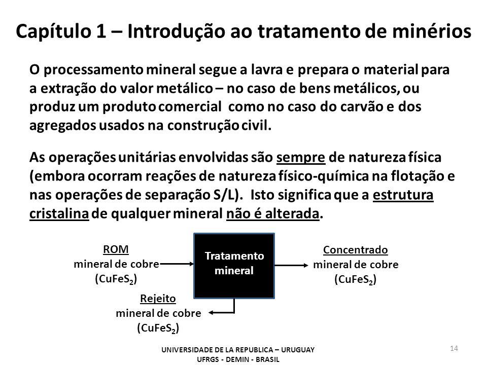 Capítulo 1 – Introdução ao tratamento de minérios O processamento mineral segue a lavra e prepara o material para a extração do valor metálico – no ca