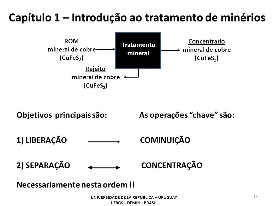 """Capítulo 1 – Introdução ao tratamento de minérios Objetivos principais são: As operações """"chave"""" são: 1) LIBERAÇÃO COMINUIÇÃO 2) SEPARAÇÃO CONCENTRAÇÃ"""