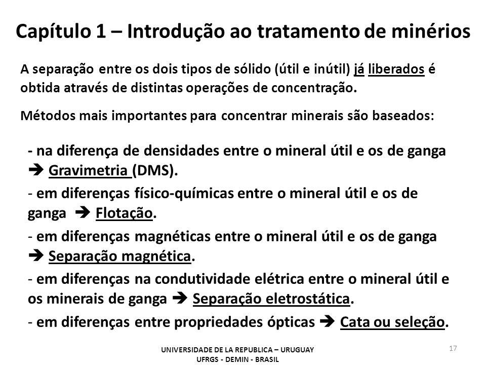 Capítulo 1 – Introdução ao tratamento de minérios 17 UNIVERSIDADE DE LA REPUBLICA – URUGUAY UFRGS - DEMIN - BRASIL A separação entre os dois tipos de