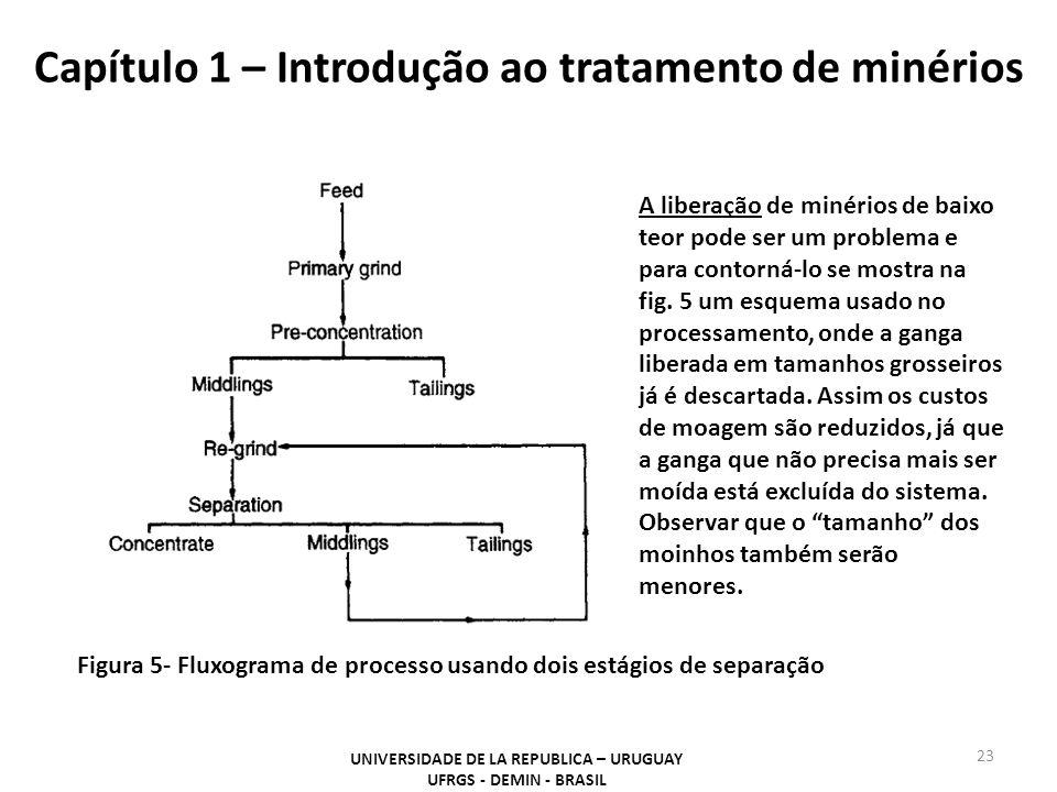 Capítulo 1 – Introdução ao tratamento de minérios 23 UNIVERSIDADE DE LA REPUBLICA – URUGUAY UFRGS - DEMIN - BRASIL A liberação de minérios de baixo te