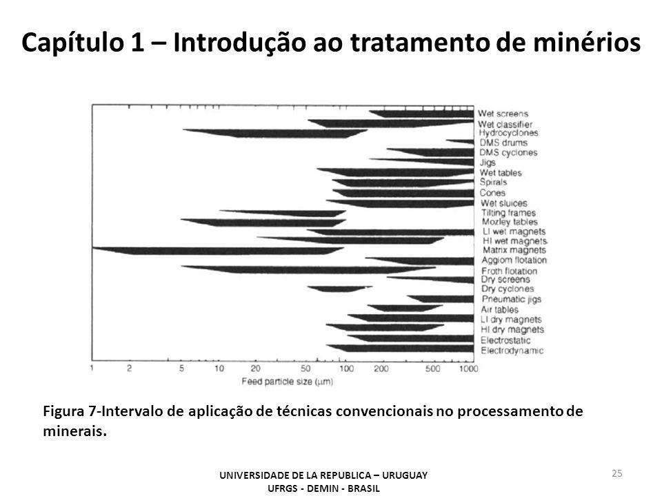 Capítulo 1 – Introdução ao tratamento de minérios 25 UNIVERSIDADE DE LA REPUBLICA – URUGUAY UFRGS - DEMIN - BRASIL Figura 7-Intervalo de aplicação de