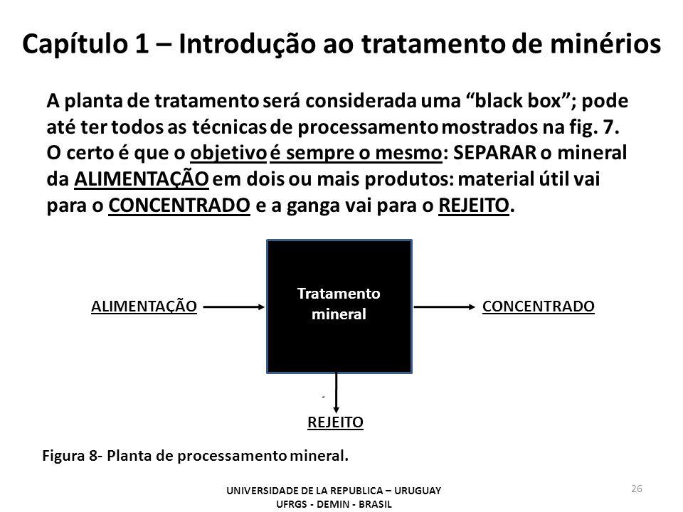 Capítulo 1 – Introdução ao tratamento de minérios 26 UNIVERSIDADE DE LA REPUBLICA – URUGUAY UFRGS - DEMIN - BRASIL Figura 8- Planta de processamento m