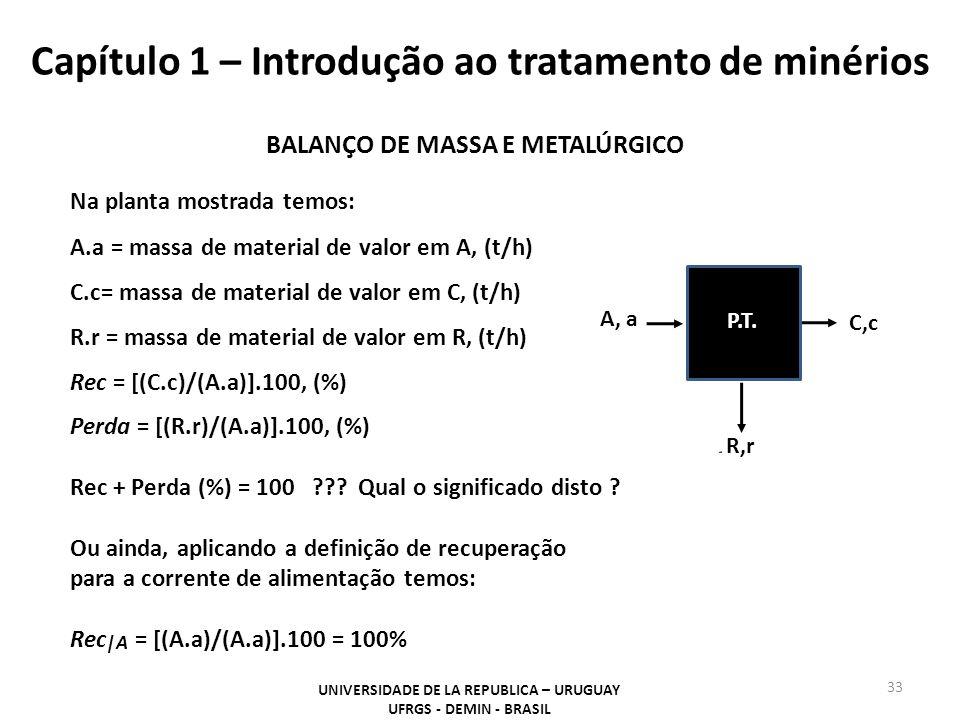 Capítulo 1 – Introdução ao tratamento de minérios 33 UNIVERSIDADE DE LA REPUBLICA – URUGUAY UFRGS - DEMIN - BRASIL A, a C,c P.T. R,r BALANÇO DE MASSA