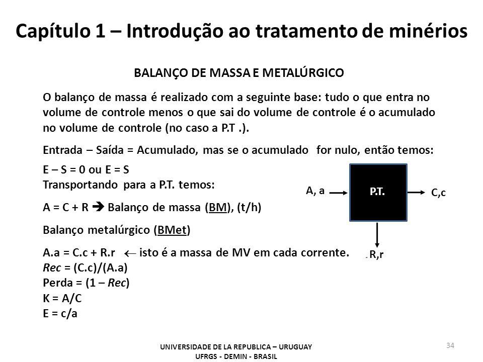 Capítulo 1 – Introdução ao tratamento de minérios 34 UNIVERSIDADE DE LA REPUBLICA – URUGUAY UFRGS - DEMIN - BRASIL A, a C,c P.T. R,r BALANÇO DE MASSA