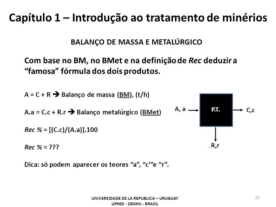 Capítulo 1 – Introdução ao tratamento de minérios 35 UNIVERSIDADE DE LA REPUBLICA – URUGUAY UFRGS - DEMIN - BRASIL A, a C,c P.T. R,r BALANÇO DE MASSA