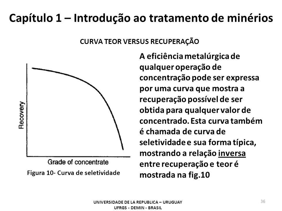 Capítulo 1 – Introdução ao tratamento de minérios 36 UNIVERSIDADE DE LA REPUBLICA – URUGUAY UFRGS - DEMIN - BRASIL CURVA TEOR VERSUS RECUPERAÇÃO A efi