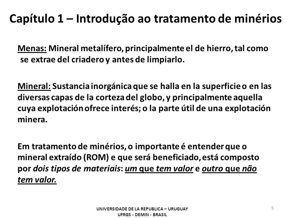 Capítulo 1 – Introdução ao tratamento de minérios Menas: Mineral metalífero, principalmente el de hierro, tal como se extrae del criadero y antes de l