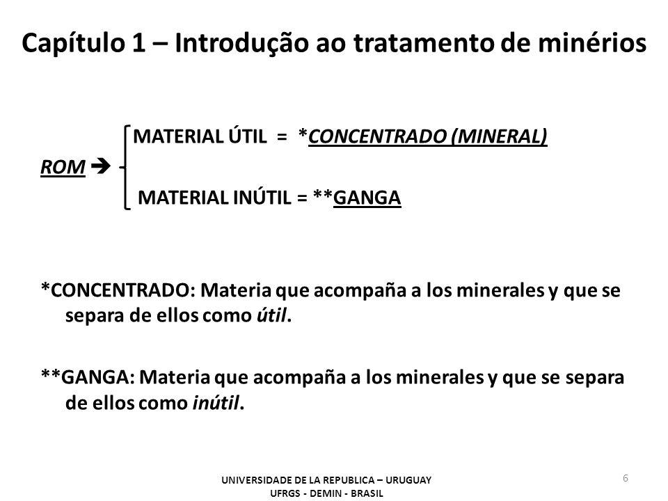 Capítulo 1 – Introdução ao tratamento de minérios MATERIAL ÚTIL = *CONCENTRADO (MINERAL) ROM  MATERIAL INÚTIL = **GANGA *CONCENTRADO: Materia que aco