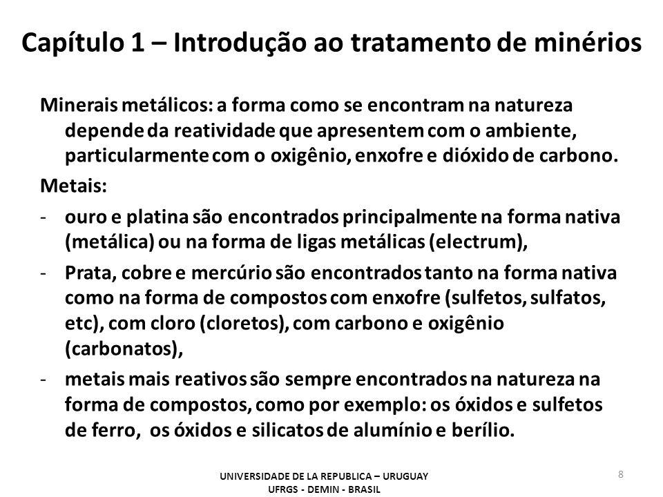 Capítulo 1 – Introdução ao tratamento de minérios Minerais metálicos: a forma como se encontram na natureza depende da reatividade que apresentem com