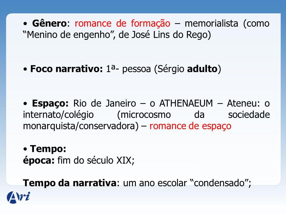 """Gênero: romance de formação – memorialista (como """"Menino de engenho"""", de José Lins do Rego) Foco narrativo: 1ª- pessoa (Sérgio adulto) Espaço: Rio de"""