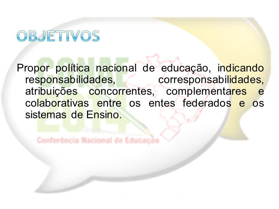 Propor política nacional de educação, indicando responsabilidades, corresponsabilidades, atribuições concorrentes, complementares e colaborativas entr