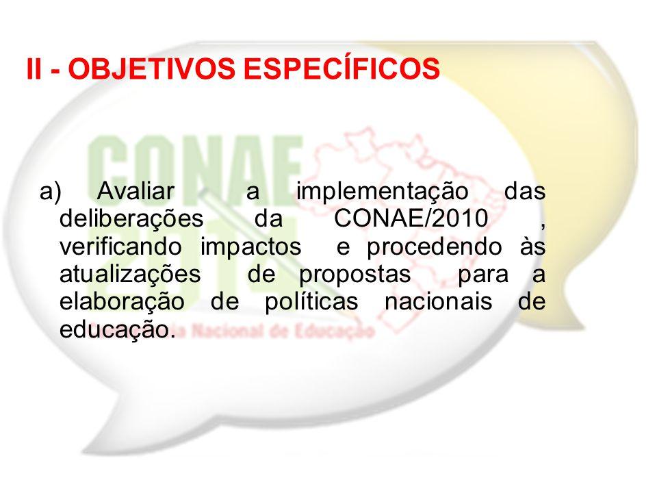 a) Avaliar a implementação das deliberações da CONAE/2010, verificando impactos e procedendo às atualizações de propostas para a elaboração de polític