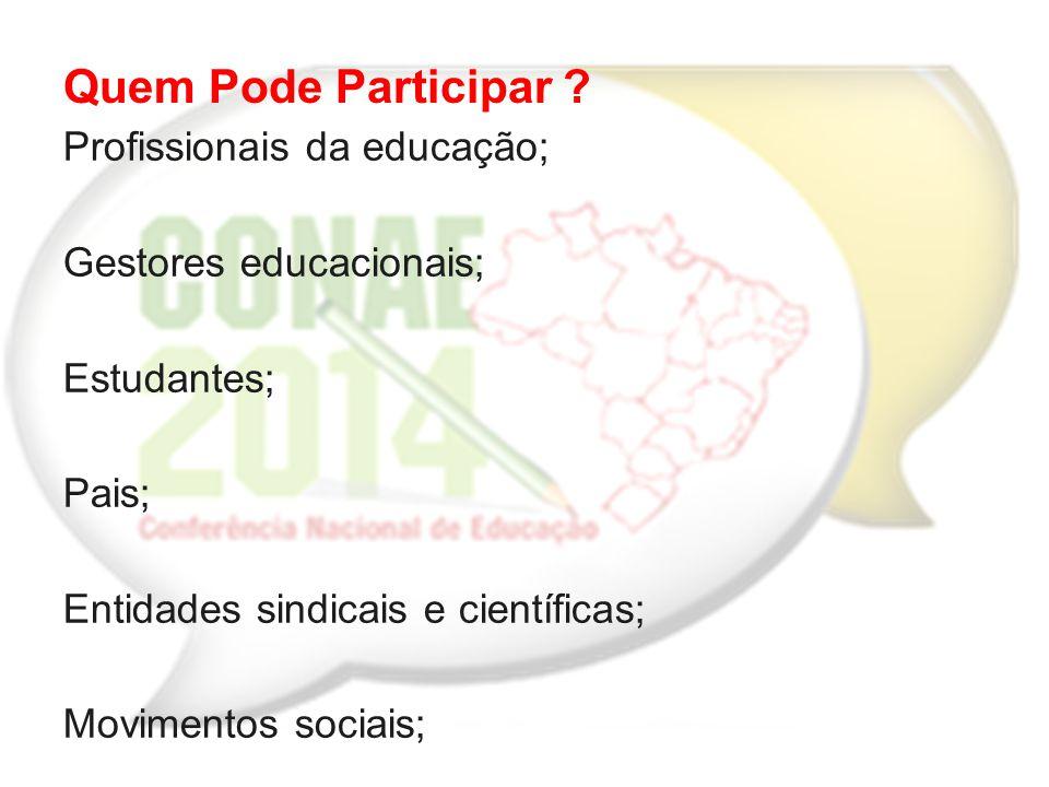 Profissionais da educação; Gestores educacionais; Estudantes; Pais; Entidades sindicais e científicas; Movimentos sociais; Conselhos de educação... Qu