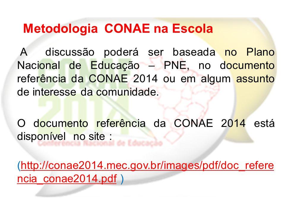 A discussão poderá ser baseada no Plano Nacional de Educação – PNE, no documento referência da CONAE 2014 ou em algum assunto de interesse da comunida