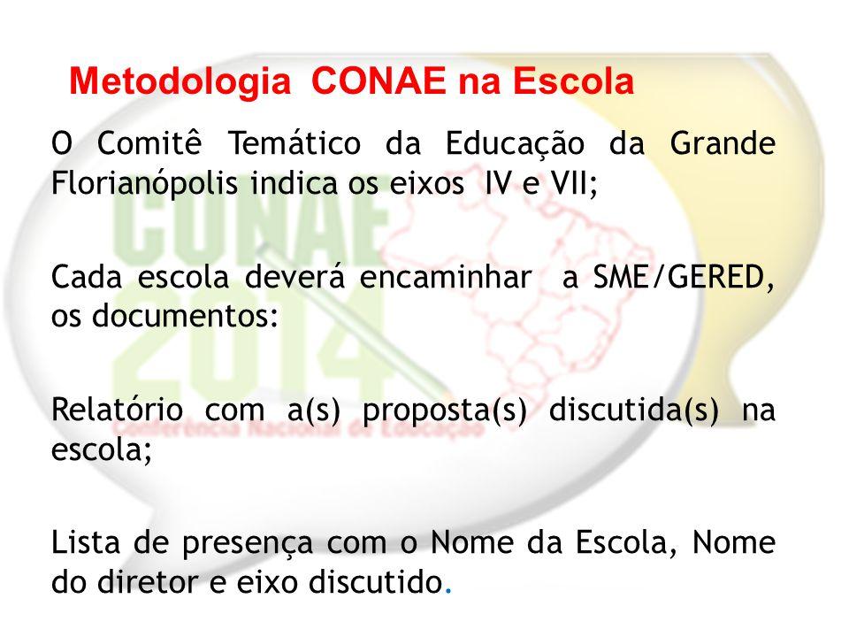 O Comitê Temático da Educação da Grande Florianópolis indica os eixos IV e VII; Cada escola deverá encaminhar a SME/GERED, os documentos: Relatório co