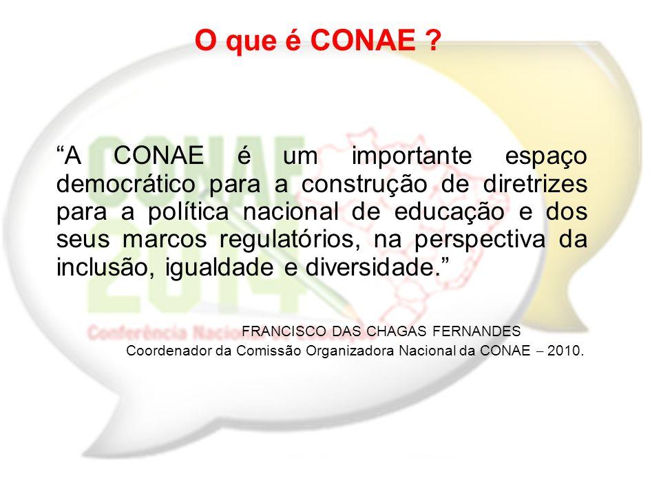 I CONAE - 2009/2010 Efetivar o Sistema Nacional Articulado de Educação; Indicar as Diretrizes e Estratégias de Ação para o Plano Nacional de Educação (PNE 2011- 2020); Institucionalizar o Fórum Nacional de Educação e estabelece-lo como órgão responsável pela CONAE;