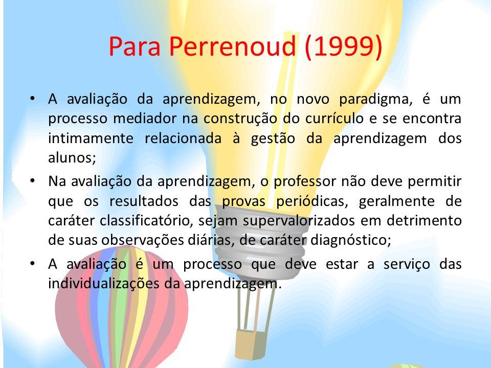 Para Perrenoud (1999) A avaliação da aprendizagem, no novo paradigma, é um processo mediador na construção do currículo e se encontra intimamente rela