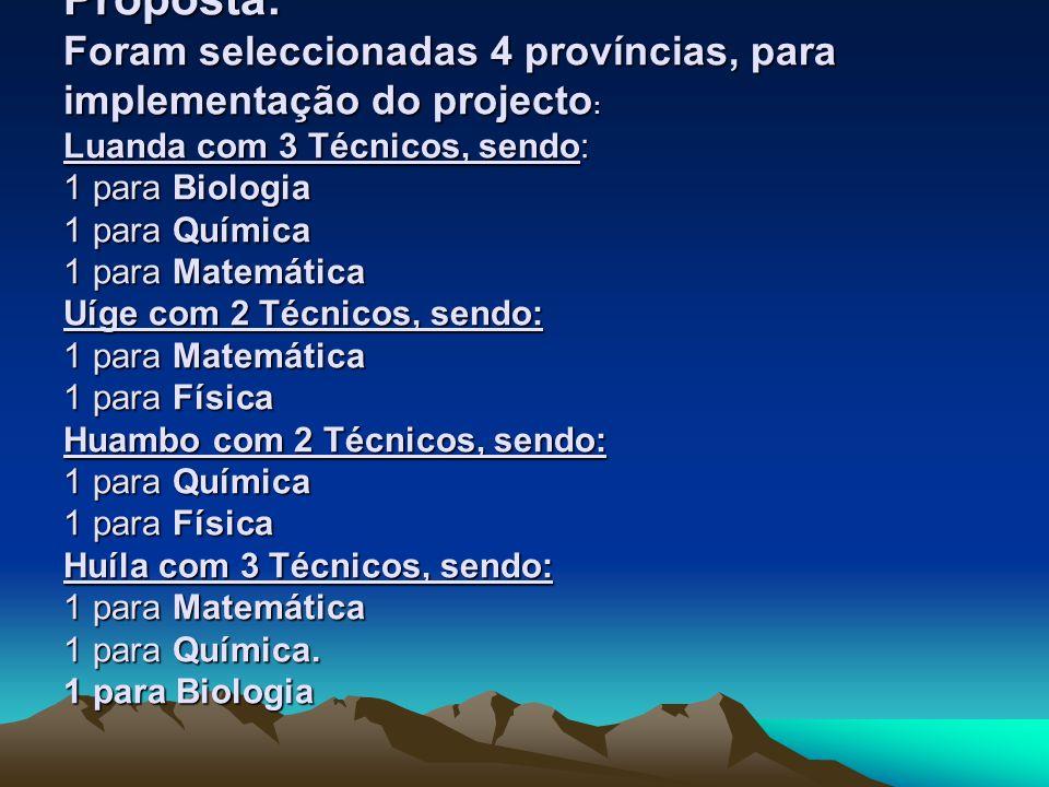 Proposta: Foram seleccionadas 4 províncias, para implementação do projecto : Luanda com 3 Técnicos, sendo: 1 para Biologia 1 para Química 1 para Matem