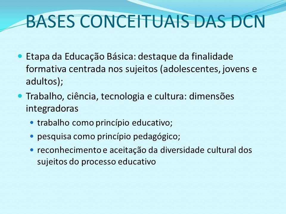 BASES CONCEITUAIS DAS DCN Etapa da Educação Básica: destaque da finalidade formativa centrada nos sujeitos (adolescentes, jovens e adultos); Trabalho,