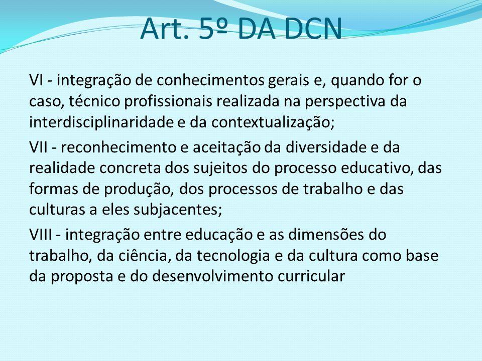 Art. 5º DA DCN VI - integração de conhecimentos gerais e, quando for o caso, técnico profissionais realizada na perspectiva da interdisciplinaridade e