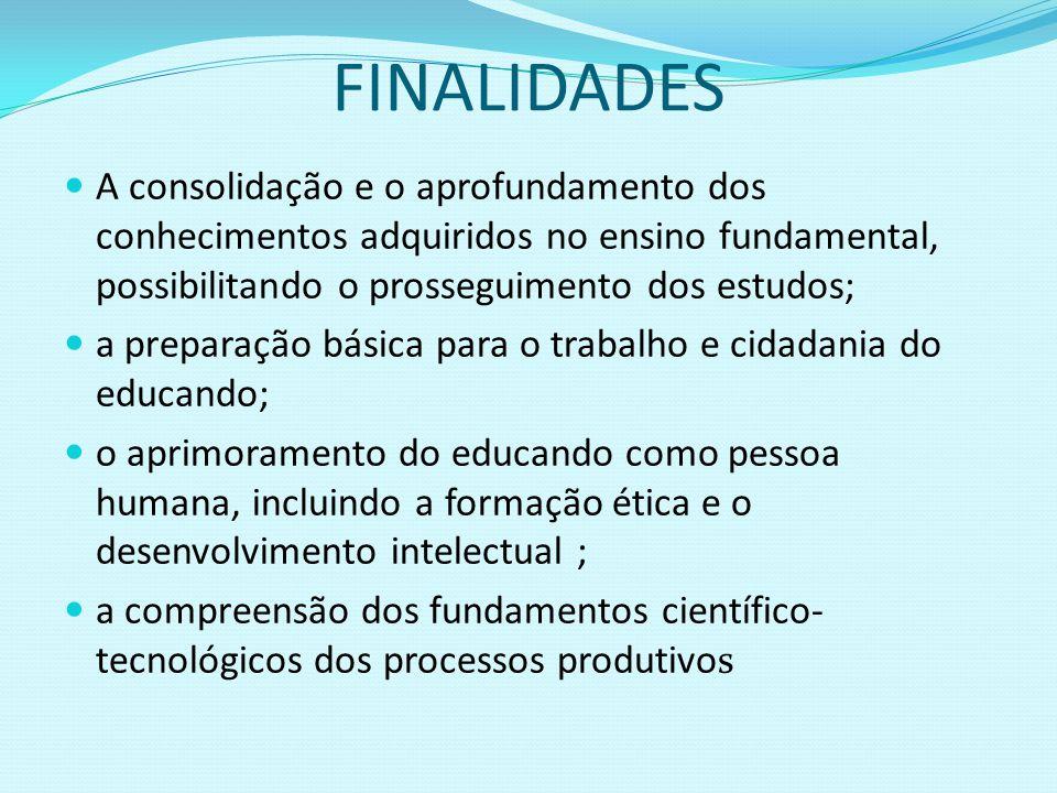 FINALIDADES A consolidação e o aprofundamento dos conhecimentos adquiridos no ensino fundamental, possibilitando o prosseguimento dos estudos; a prepa