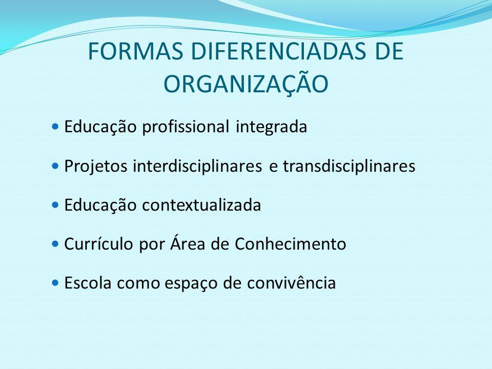 FORMAS DIFERENCIADAS DE ORGANIZAÇÃO Educação profissional integrada Projetos interdisciplinares e transdisciplinares Educação contextualizada Currícul