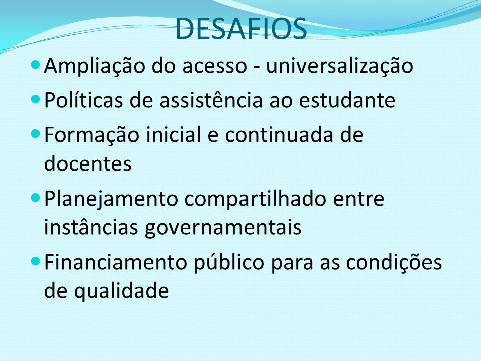 DESAFIOS Ampliação do acesso - universalização Políticas de assistência ao estudante Formação inicial e continuada de docentes Planejamento compartilh