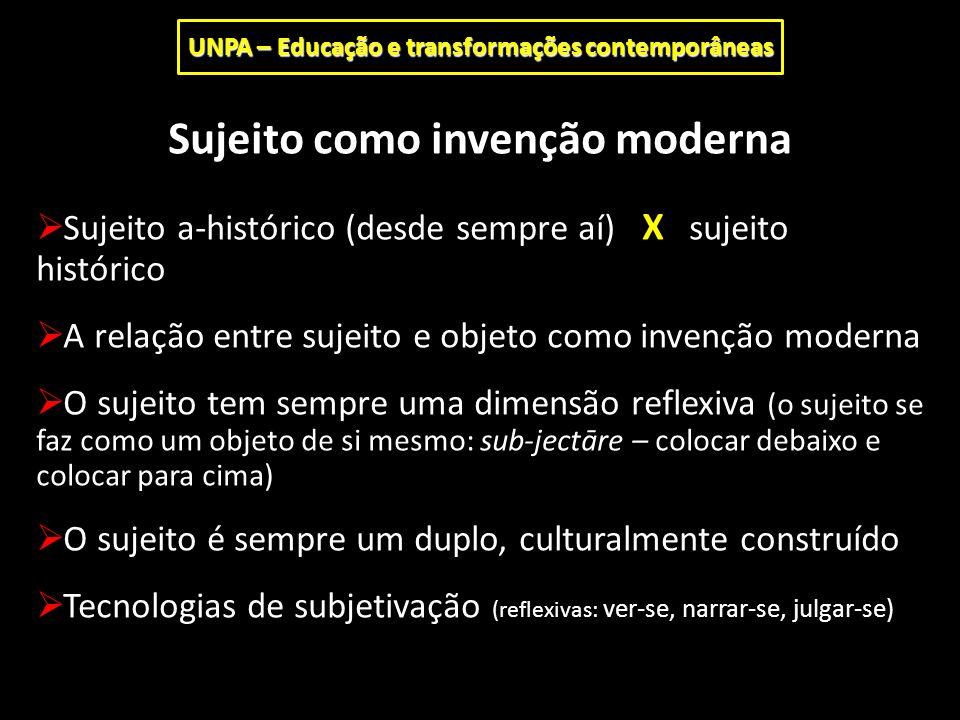 Sujeito como invenção moderna  Sujeito a-histórico (desde sempre aí) X sujeito histórico  A relação entre sujeito e objeto como invenção moderna  O
