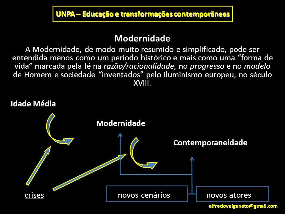 """Modernidade A Modernidade, de modo muito resumido e simplificado, pode ser entendida menos como um período histórico e mais como uma """"forma de vida"""" m"""