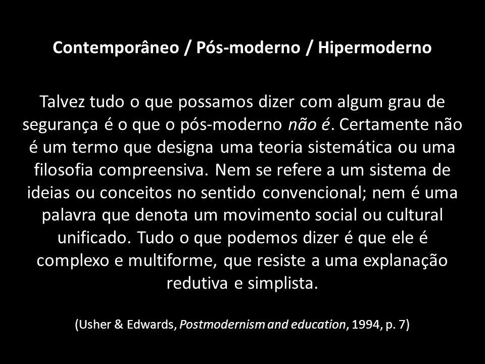 Contemporâneo / Pós-moderno / Hipermoderno Talvez tudo o que possamos dizer com algum grau de segurança é o que o pós-moderno não é. Certamente não é