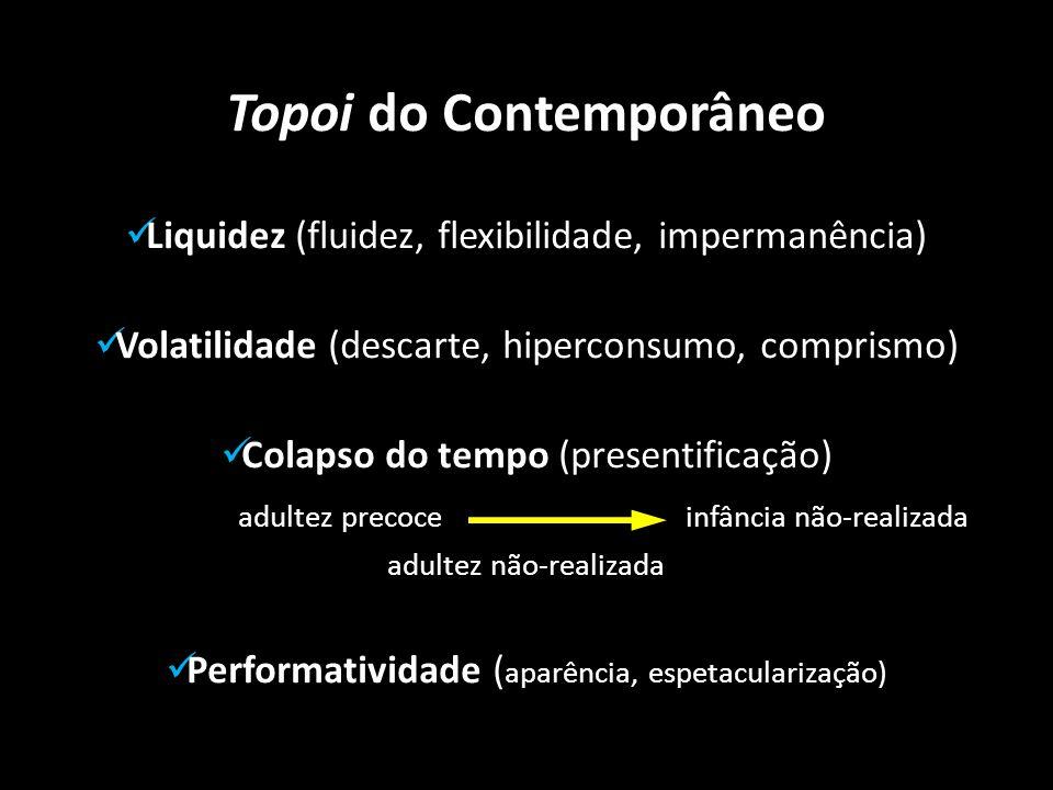 Topoi do Contemporâneo Liquidez (fluidez, flexibilidade, impermanência) Volatilidade (descarte, hiperconsumo, comprismo) Colapso do tempo (presentific