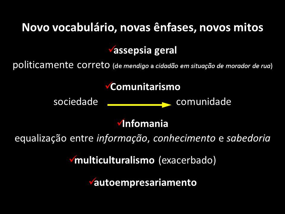 Novo vocabulário, novas ênfases, novos mitos assepsia geral politicamente correto (de mendigo a cidadão em situação de morador de rua) Comunitarismo s