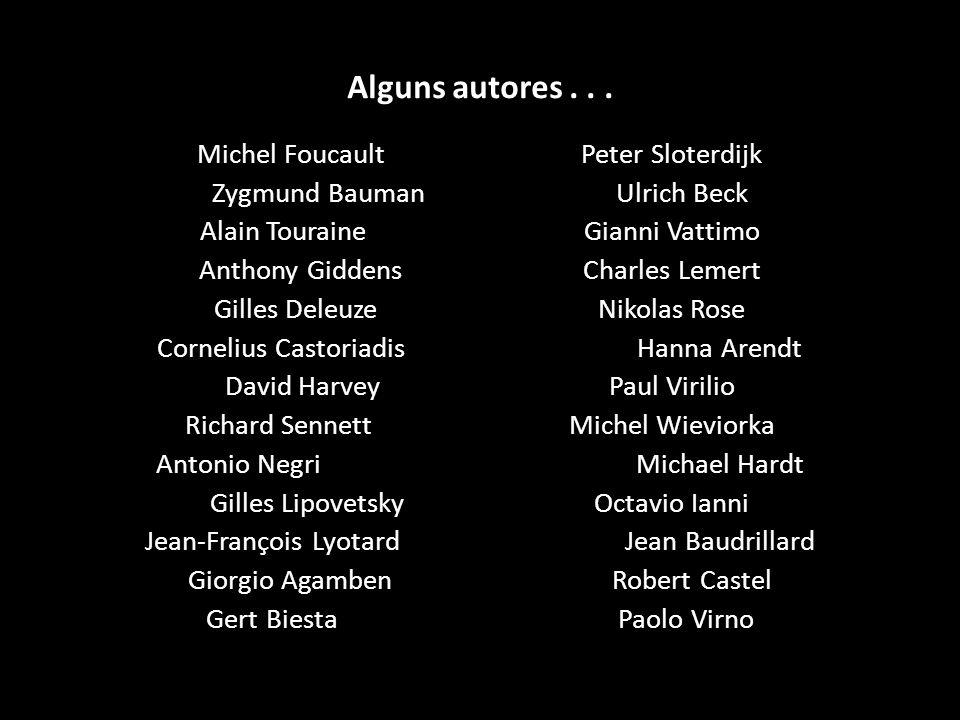 Alguns autores... Michel FoucaultPeter Sloterdijk Zygmund Bauman Ulrich Beck Alain TouraineGianni Vattimo Anthony GiddensCharles Lemert Gilles Deleuze