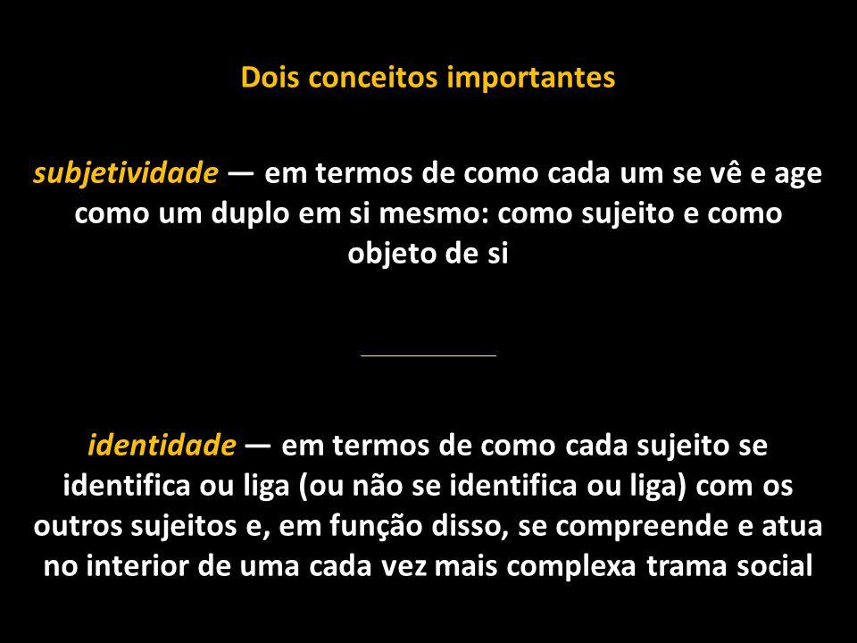 Dois conceitos importantes subjetividade — em termos de como cada um se vê e age como um duplo em si mesmo: como sujeito e como objeto de si identidad