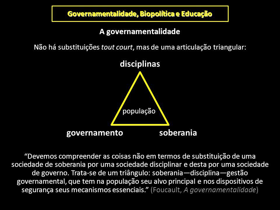 Governamentalidade, Biopolítica e Educação A governamentalidade Não há substituições tout court, mas de uma articulação triangular: disciplinas popula