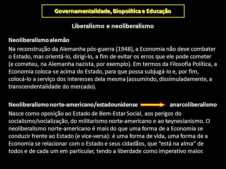 Governamentalidade, Biopolítica e Educação Liberalismo e neoliberalismo Neoliberalismo alemão Na reconstrução da Alemanha pós-guerra (1948), a Economi