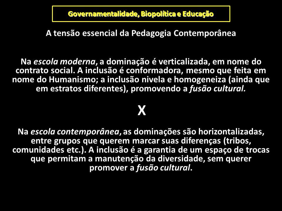 Governamentalidade, Biopolítica e Educação A tensão essencial da Pedagogia Contemporânea Na escola moderna, a dominação é verticalizada, em nome do co