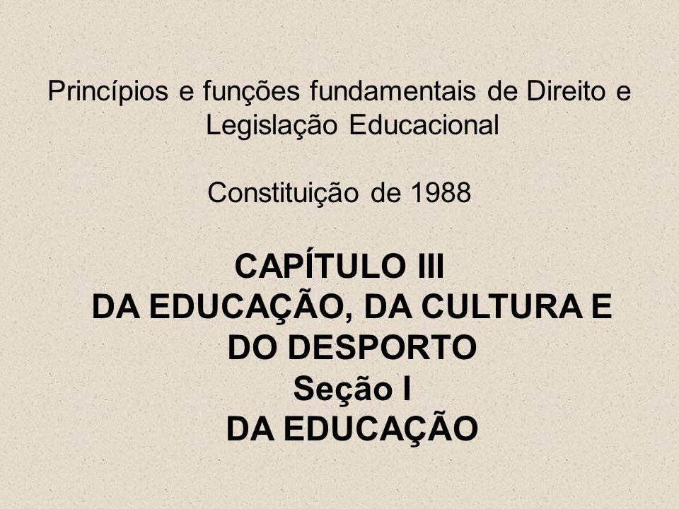 Princípios e funções fundamentais de Direito e Legislação Educacional Constituição de 1988 CAPÍTULO III DA EDUCAÇÃO, DA CULTURA E DO DESPORTO Seção I