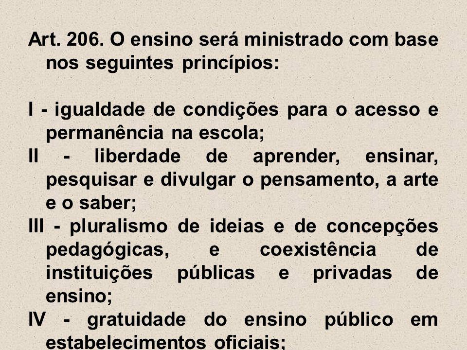 Art. 206. O ensino será ministrado com base nos seguintes princípios: I - igualdade de condições para o acesso e permanência na escola; II - liberdade