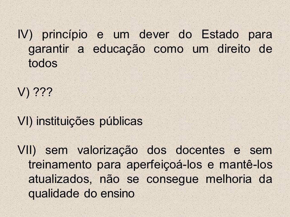IV) princípio e um dever do Estado para garantir a educação como um direito de todos V) ??? VI) instituições públicas VII) sem valorização dos docente