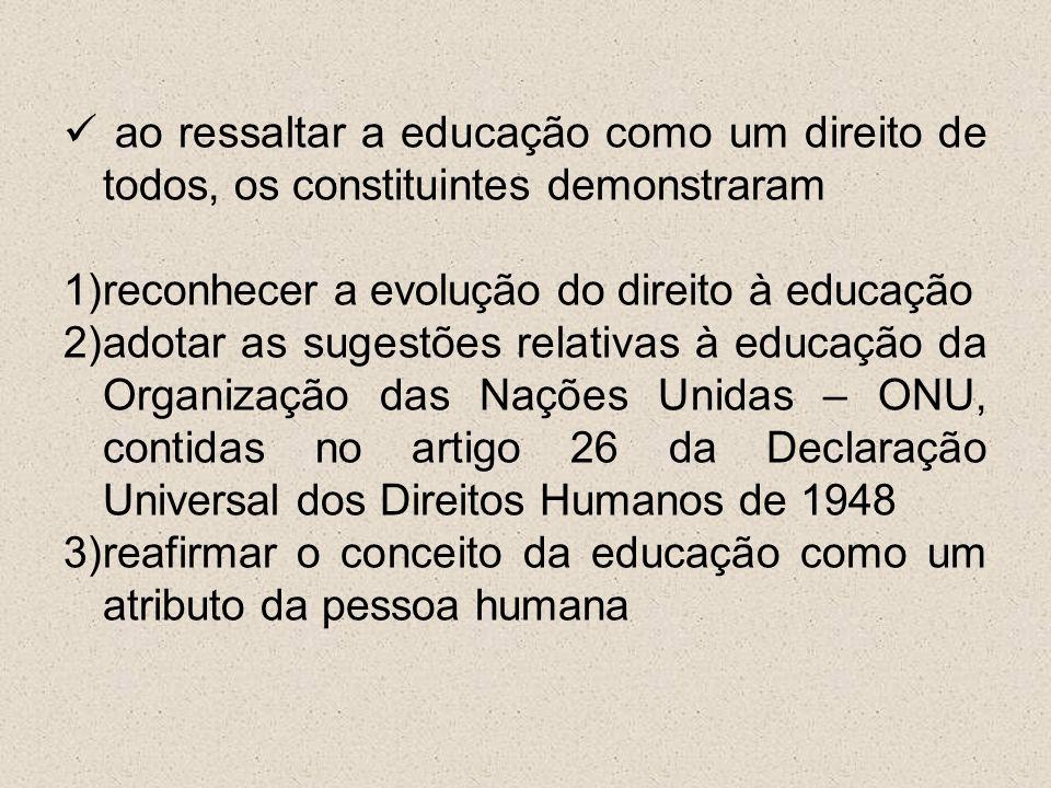 ao ressaltar a educação como um direito de todos, os constituintes demonstraram 1)reconhecer a evolução do direito à educação 2)adotar as sugestões re