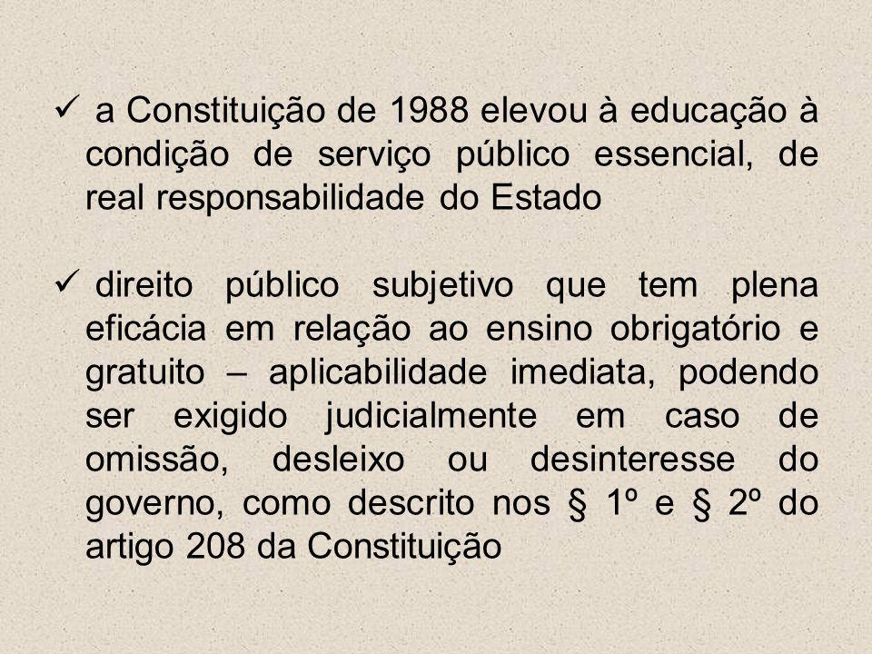 a Constituição de 1988 elevou à educação à condição de serviço público essencial, de real responsabilidade do Estado direito público subjetivo que tem