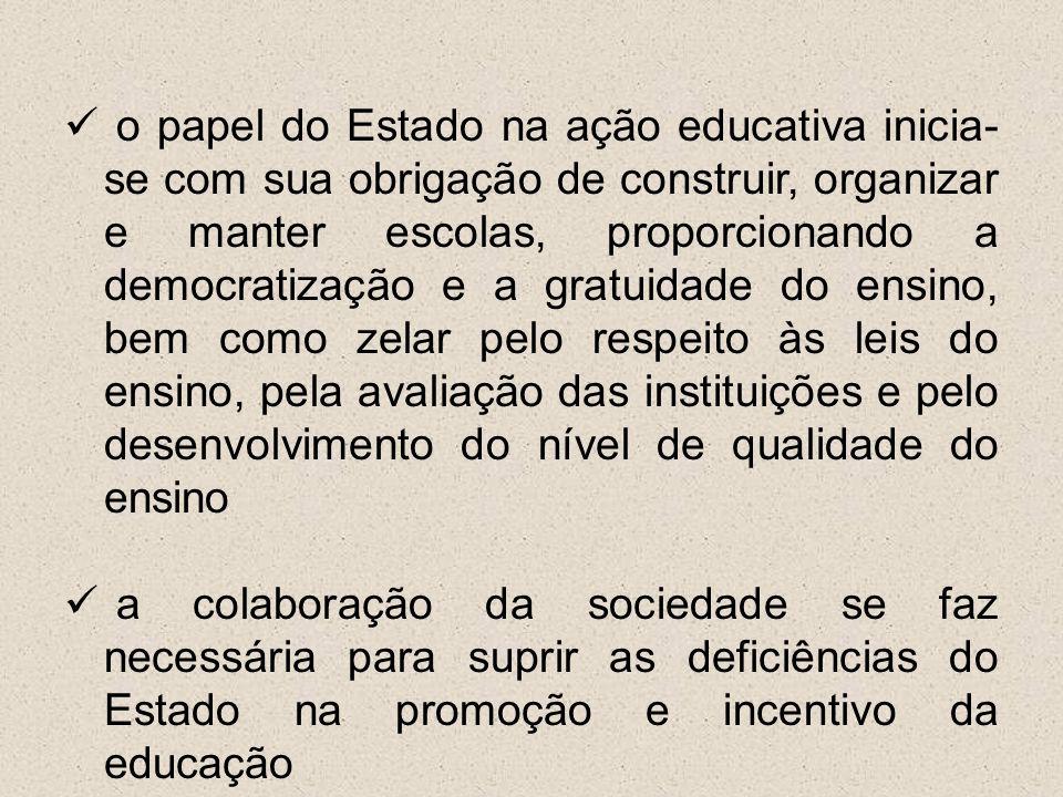 o papel do Estado na ação educativa inicia- se com sua obrigação de construir, organizar e manter escolas, proporcionando a democratização e a gratuid