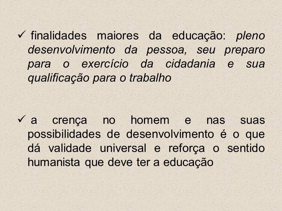 finalidades maiores da educação: pleno desenvolvimento da pessoa, seu preparo para o exercício da cidadania e sua qualificação para o trabalho a crenç