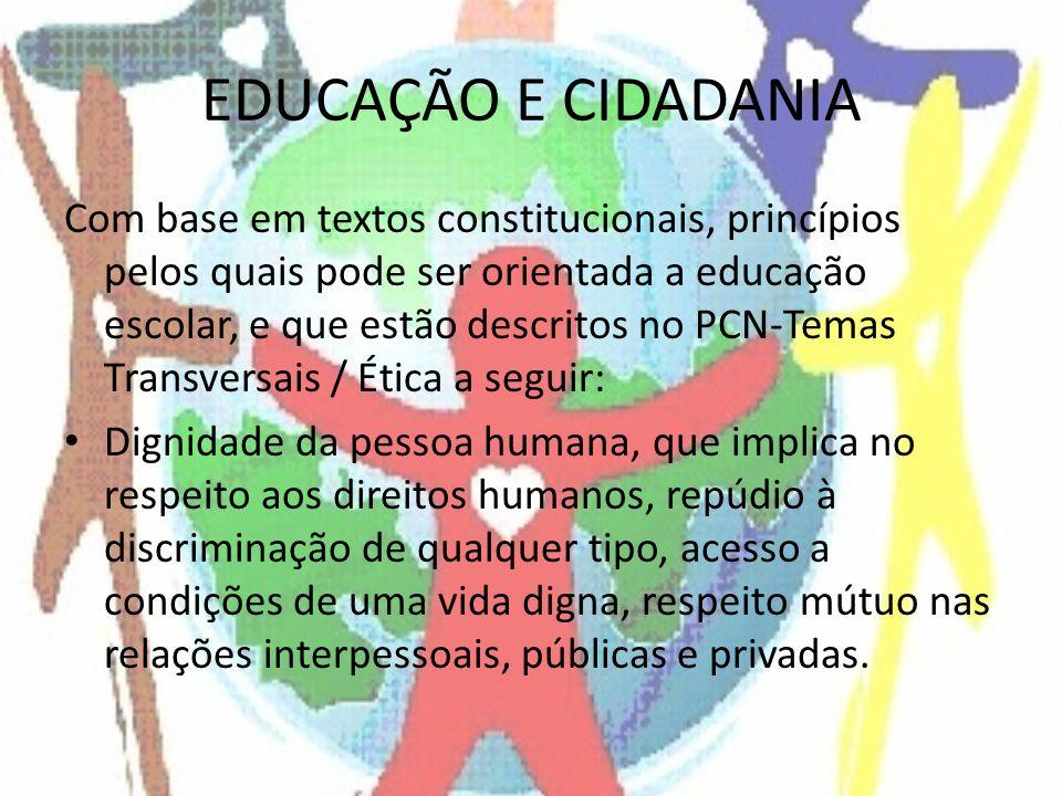 EDUCAÇÃO E CIDADANIA Com base em textos constitucionais, princípios pelos quais pode ser orientada a educação escolar, e que estão descritos no PCN-Te