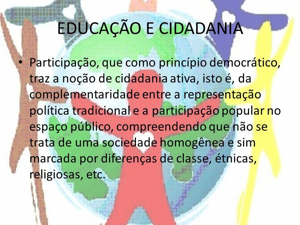 EDUCAÇÃO E CIDADANIA Participação, que como princípio democrático, traz a noção de cidadania ativa, isto é, da complementaridade entre a representação